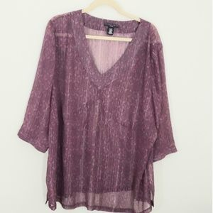 Apostrophe Woman purplish& gray Sz 24/26 sheer top